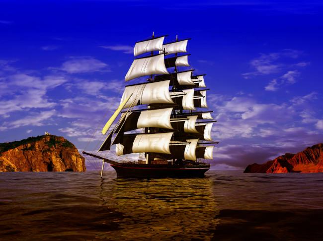 Обои корабль, фрегат, океан, паруса, вода, небо, скалы, облака. корабль, фр